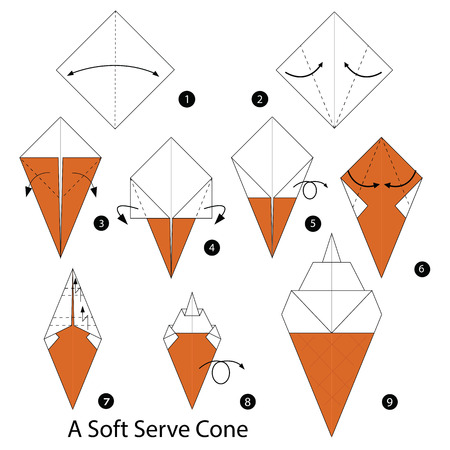 soft ice: step by step instructions how to make origami A Soft ice cream. Illustration