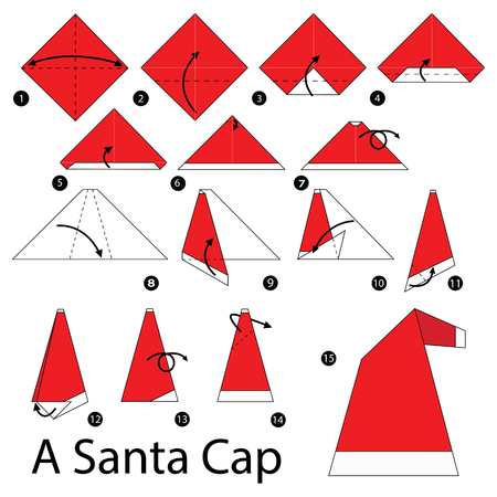 Step By Step Instructions How To Make Origami A Santa Cap Royalty