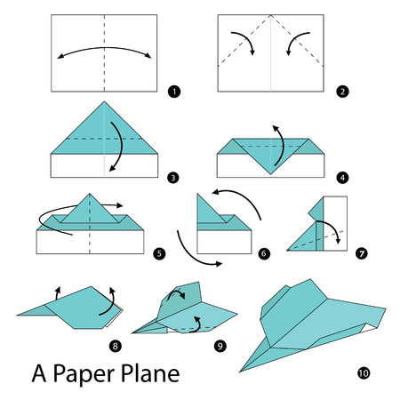 instructions: step by step instructions how to make origami A Plane. Illustration