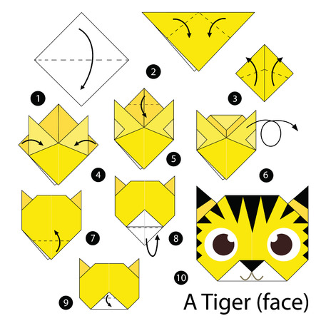 instructions: step by step instructions how to make origami Tiger face.
