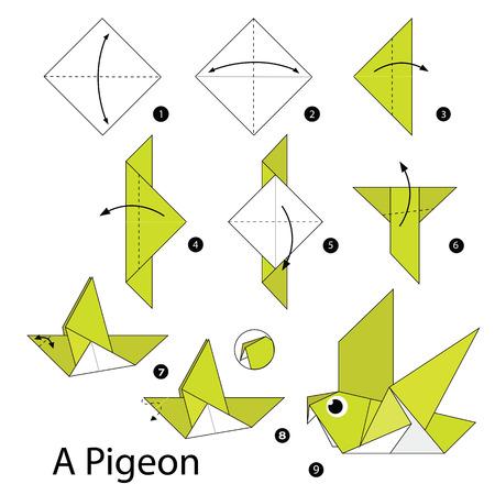 instrucciones: instrucciones paso a paso c�mo hacer origami de un p�jaro.