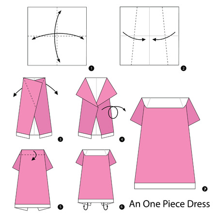 one piece dress: step by step instructions how to make origami An one piece dress. Illustration