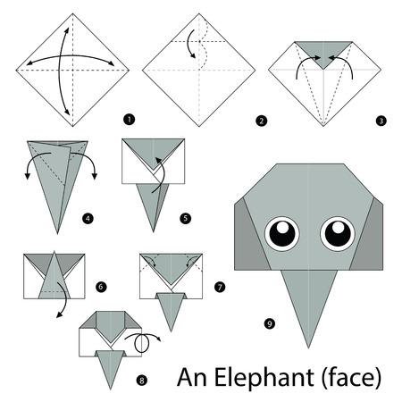 折り紙のゾウを作る方法を手順を追って説明します。  イラスト・ベクター素材