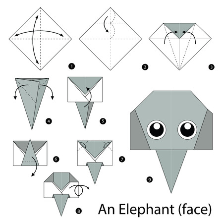 instructions: step by step instructions how to make origami A Elephant.