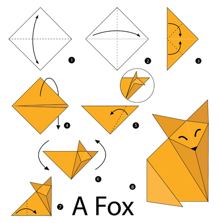 how to: step by step instructions how to make origami A Fox. Illustration