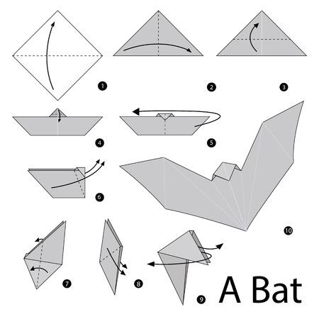 instrucciones: instrucciones paso a paso c�mo hacer origami de un murci�lago.