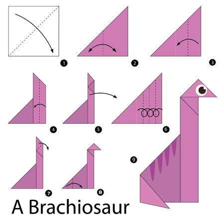 instructions: step by step instructions how to make origami A Brachiosaur.