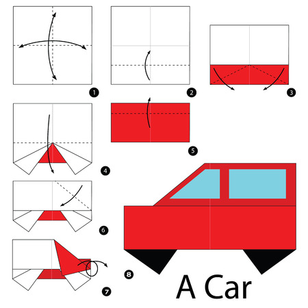 Step By Step Instructions How To Make Origami A Car Royalty Free