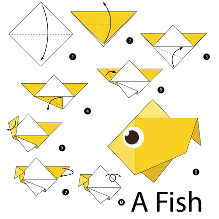 step by step instructions how to make origami A Fish. Illustration