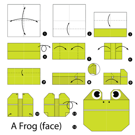 Step By Step Instructions How To Make Origami A Frog Face Royalty