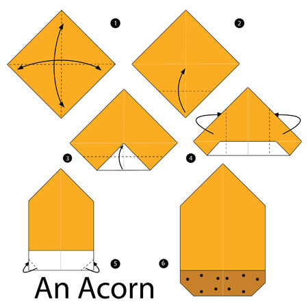 instrucciones: step by step instructions how to make origami An Acorn.