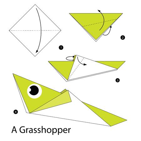 instrucciones: instrucciones paso a paso c�mo hacer origami de un saltamontes.