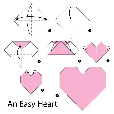 paper heart: Step by step instructions how to make origami An Easy Heart.