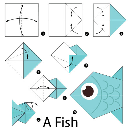 Step By Step Instructions How To Make Origami A Fish Royalty Free