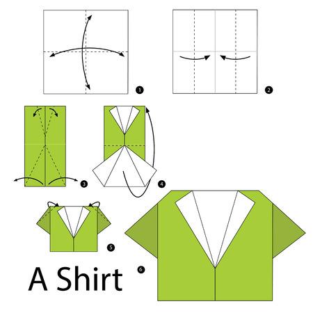 折り紙のシャツを作る方法を手順を追って説明します。