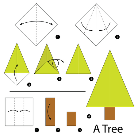 Step By Step Instructions How To Make Origami A Tree Royalty Free