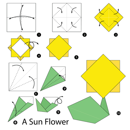 instructions: Step by step instructions how to make origami A Sunflower.