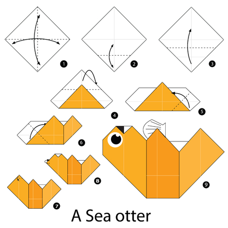otter: Step by step instructions how to make origami A Sea otter.