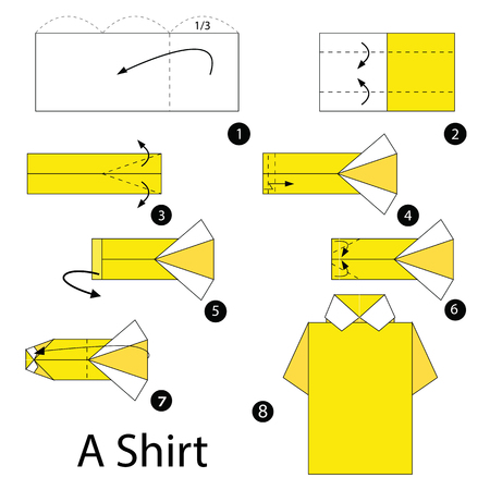 instructions: Step by step instructions how to make origami A Shirt.