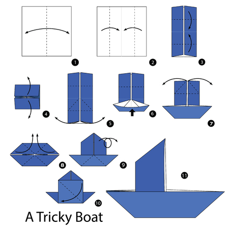 tricky: Step by step instructions how to make origami A Tricky Boat.