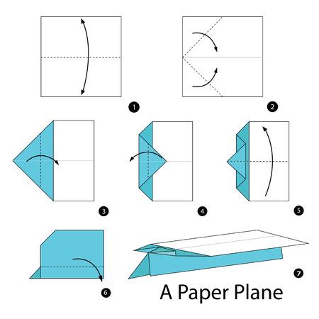 Schritt für Schritt Anleitung, wie Origami, ein Flugzeug zu machen.