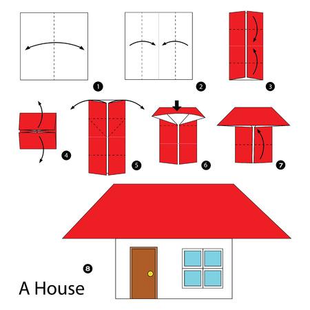 Schritt für Schritt Anweisungen, wie Origami, ein Haus zu machen. Vektorgrafik