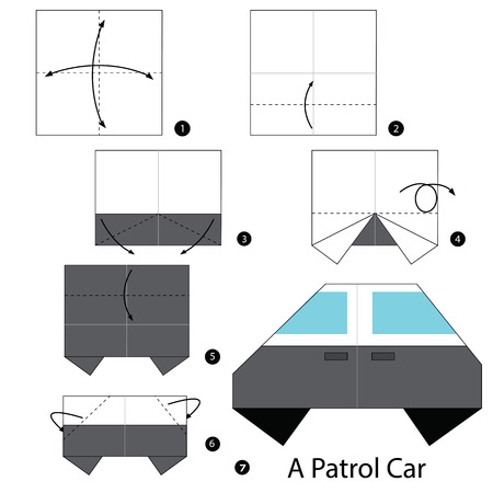 patrol: Step by step instructions how to make origami A Patrol Car.