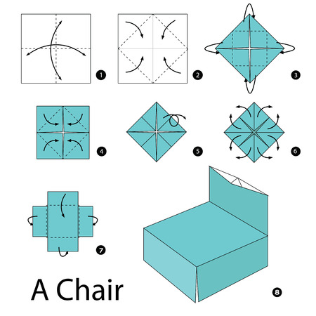 instrucciones: Step by step instructions how to make origami A Chair.