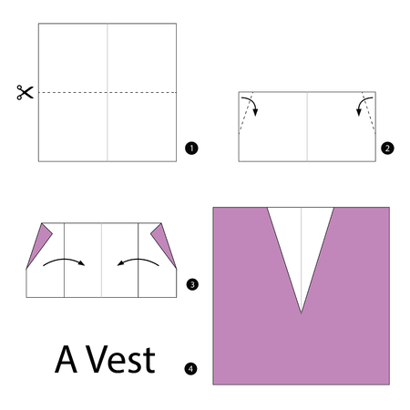 instructions: Step by step instructions how to make origami A Vest. Illustration