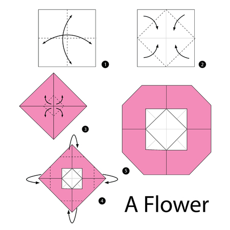 instrucciones: Step by step instructions how to make origami A Flower.