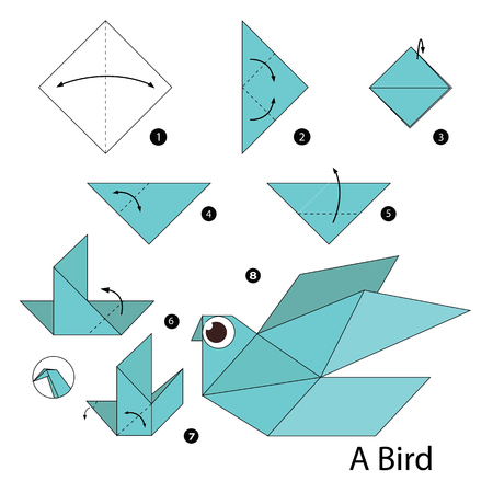 Step by step instructions how to make origami A Bird. Ilustração Vetorial