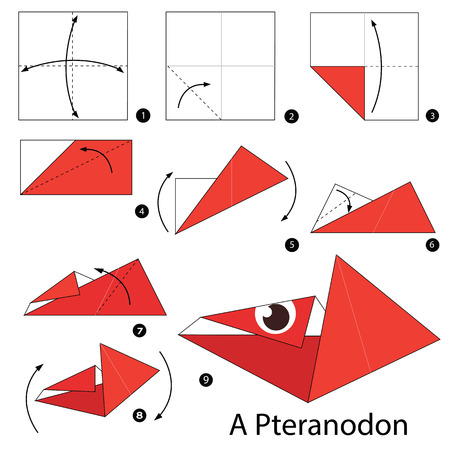 pteranodon: Step by step instructions how to make origami A Dinosaur.