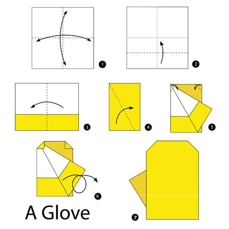instrucciones: Instrucciones paso a paso c�mo hacer origami un guante. Vectores