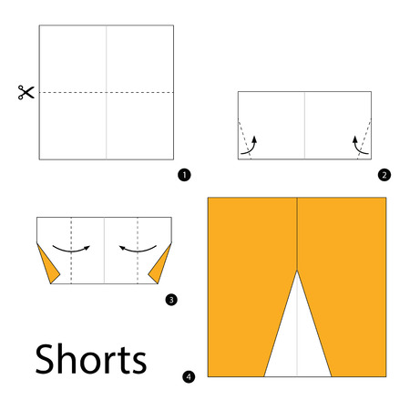 instrucciones: Step by step instructions how to make origami Shorts.