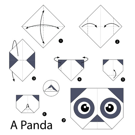 Step By Step Instructions How To Make Origami A Panda Royalty Free