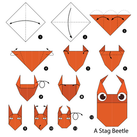 stag beetle: Step by step instructions how to make origami A Stag Beetle.