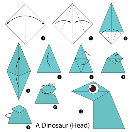 instructions: Step by step instructions how to make origami A Dinosaur.