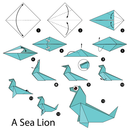 sea lion: Step by step instructions how to make origami A Sea lion.