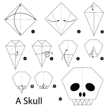 instrucciones: Step by step instructions how to make origami A Skull. Vectores