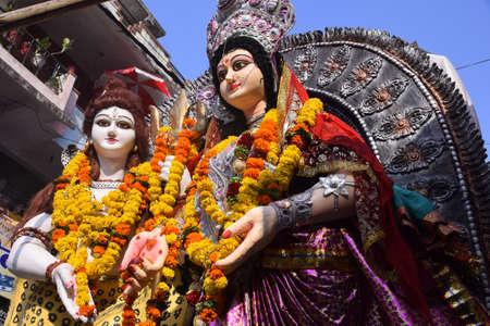 panoramic tableau of indian hindu god shiva and parvati. mahashivratri, hindu festival Stock Photo