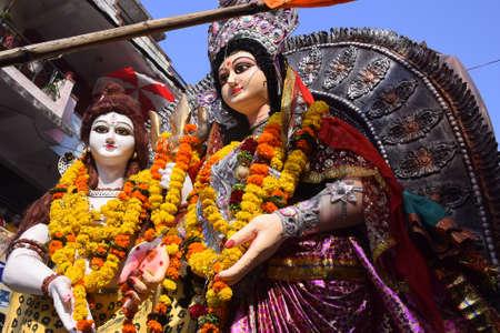 panoramic tableau of indian hindu god shiva and parvati. mahashivratri, hindu festival