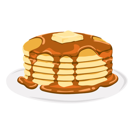 syrup: Delicious Pancake with Syrup Illustration