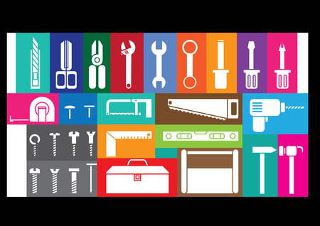 crescent wrench: white tool kits on colorful frame background  Illustration