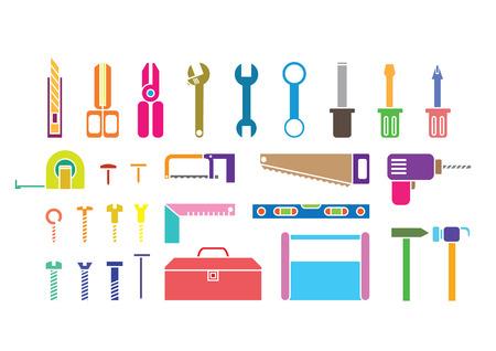 gimlet: silhouette tool kits on white background