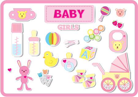 Baby accessories for girls in pink tone color. Vector