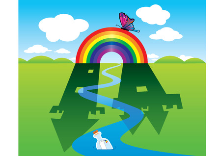 moutain: Rainbow in the field make shadow look like the castle. Illustration
