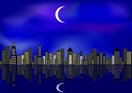 closely: Big city in the night time with many skyscrpaer. Illustration