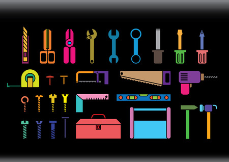 crescent wrench: Colorful tool kits in flat design style on black  background.
