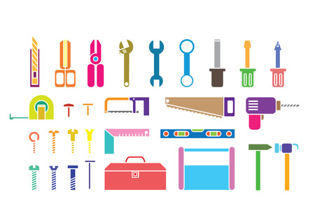 Colorful tool kits on white background. photo