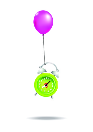 time fly: Green alarm clock is flying with balloon.